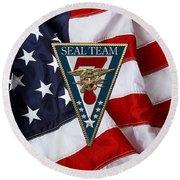 U. S. Navy S E A Ls - S E A L Team Seven  -  S T 7  Patch Over U. S. Flag Round Beach Towel
