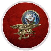 U. S. Navy S E A Ls Trident Over Red Velvet Round Beach Towel