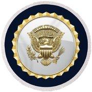 Vice Presidential Service Badge On Blue Velvet Round Beach Towel