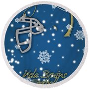 Ucla Bruins Christmas Card Round Beach Towel