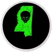 Ufo Abduction Extraterrestrial Archaeology Mississippi Round Beach Towel