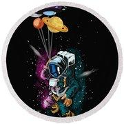 Ufo Astronaut Spaceshuttle Space Force Round Beach Towel