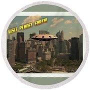 Ufo Postcards Home By Raphael Terra Round Beach Towel