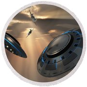 Ufos And Fighter Planes In The Skies Round Beach Towel