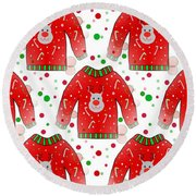 Ugly Christmas Sweater Pattern Round Beach Towel
