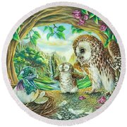 Ugly Duckling - Dragon Baby And Owls Round Beach Towel