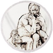 Ugolino And His Sons Round Beach Towel