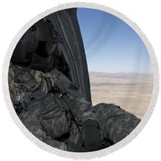 Uh-60 Black Hawk Crew Chief Takes Round Beach Towel