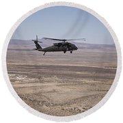 Uh-60 Black Hawk En Route To New Mexico Round Beach Towel