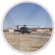 Uh-60 Black Hawk Helicopter Lands Round Beach Towel