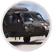 Uh-60 Black Hawk Refuels Round Beach Towel