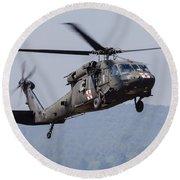 Uh-60a Black Hawk Medevac Helicopter Round Beach Towel