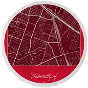 Uh Street Map - University Of Houston In Houston Map Round Beach Towel