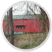 Uhlerstown Covered Bridge Round Beach Towel