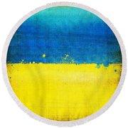 Ukraine Flag Round Beach Towel by Setsiri Silapasuwanchai