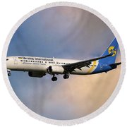 Ukraine International Airlines Boeing 737-8eh Round Beach Towel