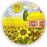 Ukrainian House With Sunflowers Round Beach Towel