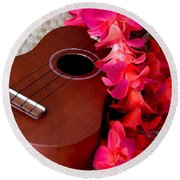 Ukulele And Red Flower Lei Round Beach Towel