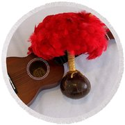 Ukulele And Uliuli Round Beach Towel