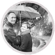 Ula And Wojtek Engagement 7 Round Beach Towel