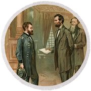 Ulysses S. Grant With Abraham Lincoln Round Beach Towel