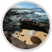 Umbrella On Beach Round Beach Towel