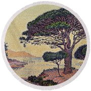 Umbrella Pines At Caroubiers Round Beach Towel by Paul Signac