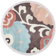 Umbrella Skies II Suzani Pattern Round Beach Towel