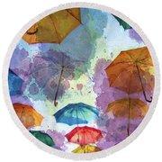 Umbrella Sky Round Beach Towel