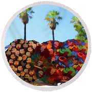 Umbrellas Day Of The Dead Paint  Round Beach Towel