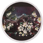 Ume Blossoms Round Beach Towel