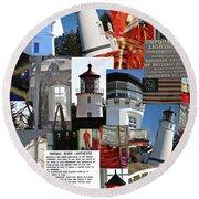Umpqua River Lighthouse Collection Round Beach Towel