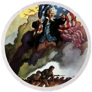Uncle Sam - Buy War Bonds Round Beach Towel by War Is Hell Store