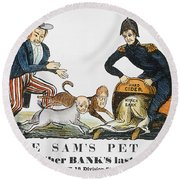 Uncle Sam: Cartoon, 1840 Round Beach Towel
