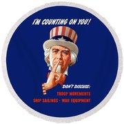 Uncle Sam - I'm Counting On You Round Beach Towel