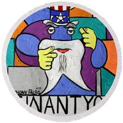 Uncle Sam Tooth Round Beach Towel