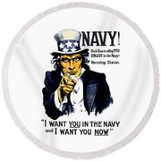Uncle Sam Wants You In The Navy Round Beach Towel by War Is Hell Store