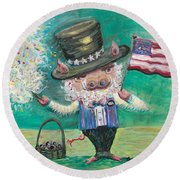 Uncle Spam Round Beach Towel