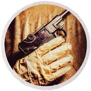 Undead Mummy  Holding Handgun Against Wooden Wall Round Beach Towel