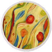 Under A Sky Of Peaches And Cream Round Beach Towel