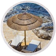 Under A Sun Round Beach Towel
