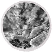 Under Cover In Black And White Round Beach Towel
