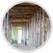 Under The Boardwalk Except It's The Pier Round Beach Towel