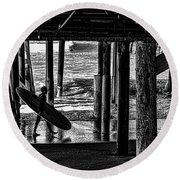 Under The Boardwalk Round Beach Towel by Tommy Anderson
