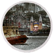 Under The Bridge Round Beach Towel by Wayne Sherriff