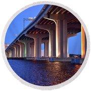 Under The Bridge With Lights 01175 Round Beach Towel