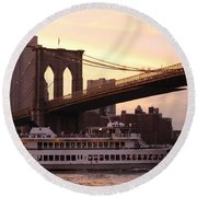 Under The Brooklyn Bridge  Round Beach Towel