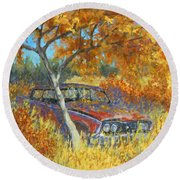 Under The Chinese Elm Tree Round Beach Towel by David King