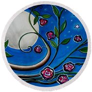 Under The Glowing Moon Round Beach Towel