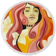 Under The Influence Of Alphonse Mucha Round Beach Towel